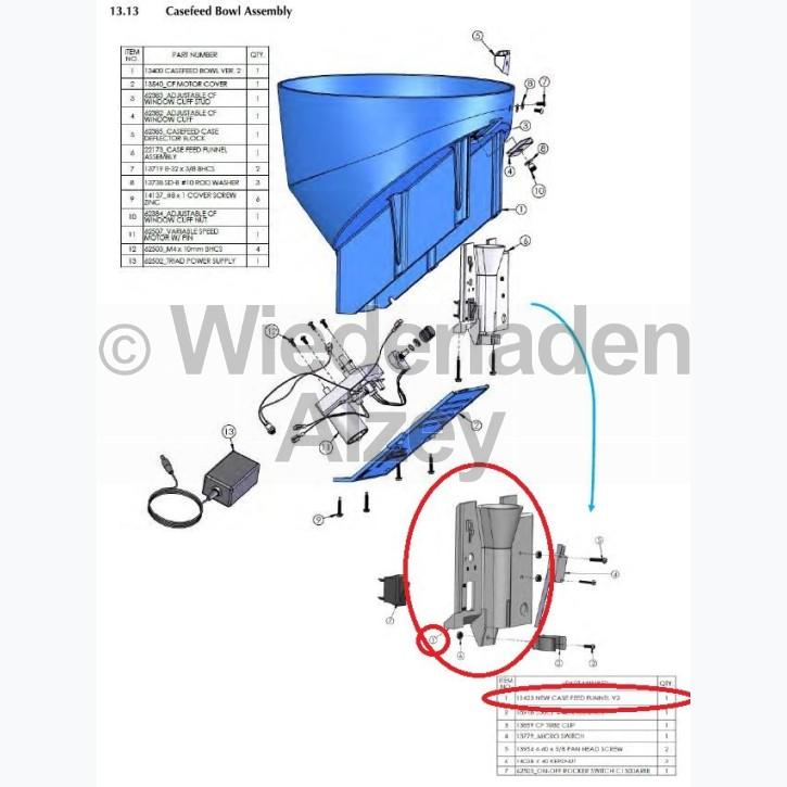 Dillon XL 650 / XL 750, Gehäuse von Hülsenzuführungstrichter,  Version 2 - Case Feed Funnel, Vers. 2, Art.-Nr.: 11423