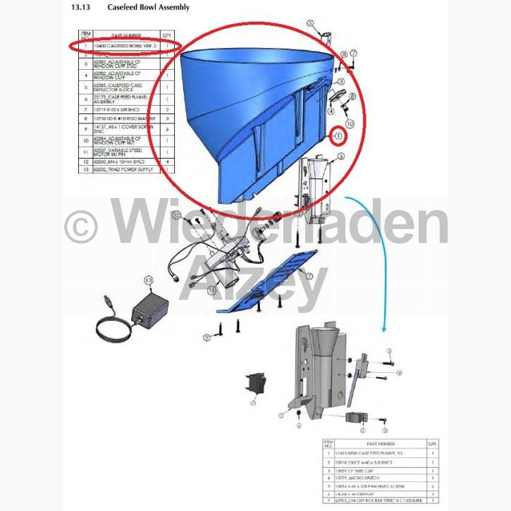 Dillon XL 750, Hülsenvorratsbehälter, Version 2 - Casefeed Bowl Ver. 2, Art.-Nr.: 13400
