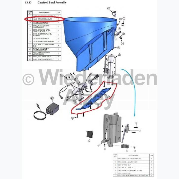 Dillon XL 650 / XL 750, Motorabdeckung für aut. Hülsenzuführung, Art.-Nr.: 13540