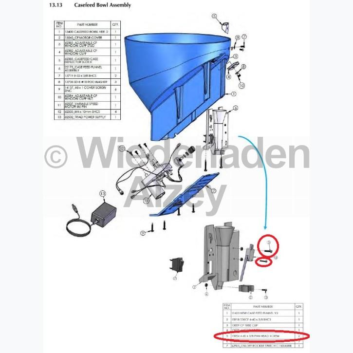 Dillon XL 650 / XL 750, Befestigungsschraube für Mikroschalter - 4-40 x 5/8 Pan Head Screw, Art.-Nr.: 13954
