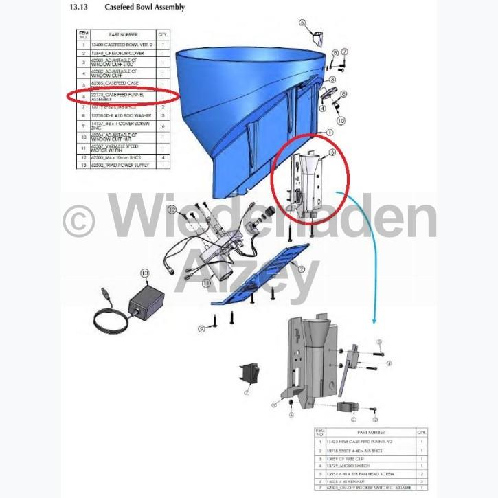 Dillon XL 650 / XL 750, Hülsenzuführungstrichter, komplett - Case Feed Funnel, Assy., Art.-Nr.: 22173