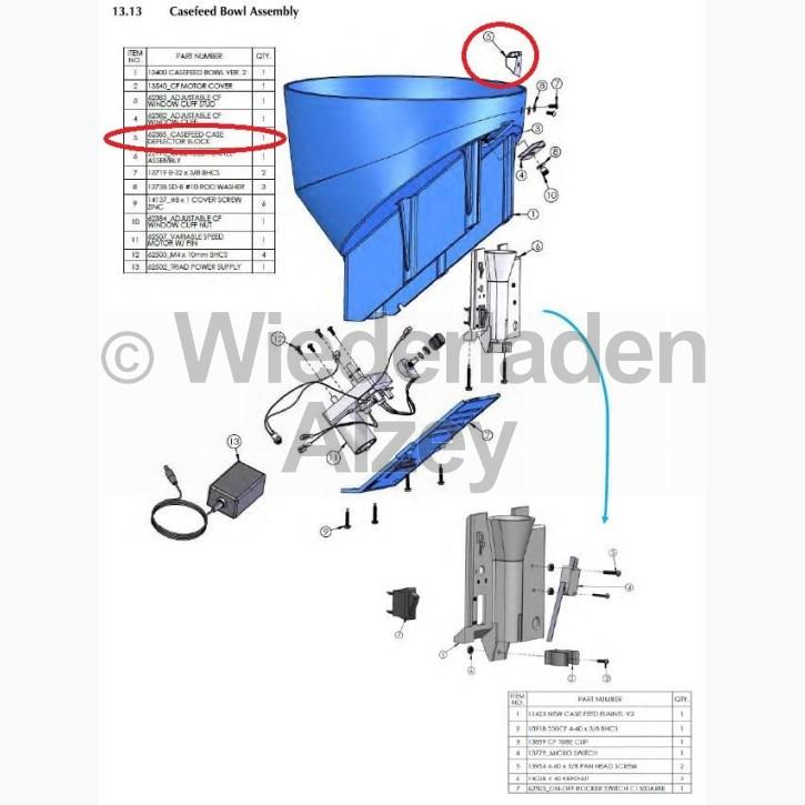 Dillon XL 750, Hülsenabweiser - Casefeed Case Deflector Block, Art.-Nr.: 62385
