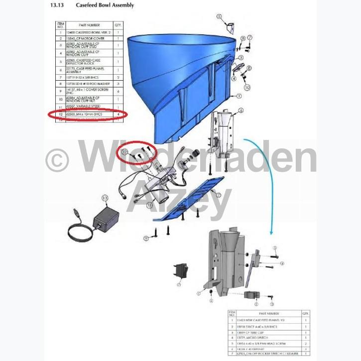 Dillon XL 750, Schraube für Motorbefestigung - M4 x 10mm BHCS, Art.-Nr.: 62503