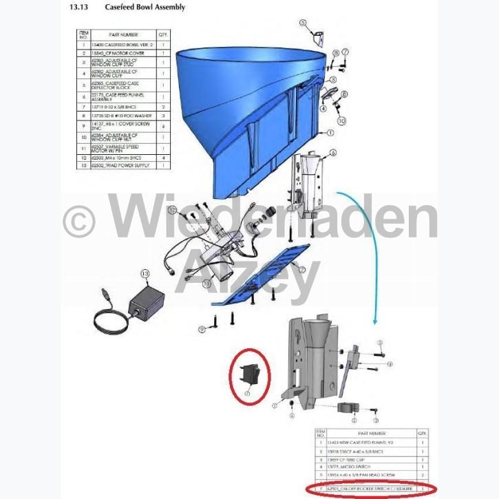 Dillon XL 650 / XL 750, Ein-Ausschalter für Hülsenzuführung - On-Off Rocker Switch C1500ARBB, Art.-Nr.: 62505