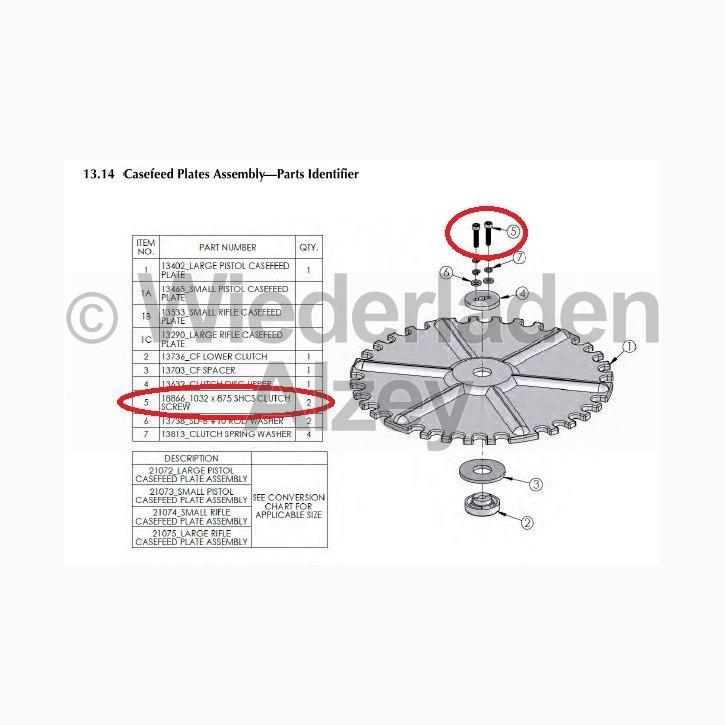 Dillon XL 750, Schraube für Kupplungsteile - 1032 x 875 SHCS Clutch Screw, Art.-Nr.: 18866