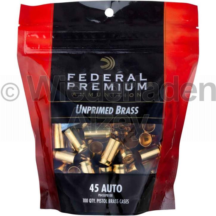 .45 ACP Federal Hülsen, bereits mit Federal 150, Large Pistol Zündhütchen gezündert, Art.-Nr.: UP45EP