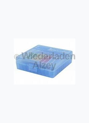 100er MTM Patronenbox, Klappdeckel, blau, 9 mm Para, MTM Art.-Nr.: P-100-9-24