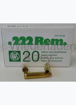 .222 Rem. RWS Hülsen, neutrale Verpackung