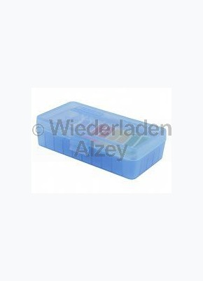 50er MTM Patronenbox, Klappdeckel, blau, 9 mm Para, MTM Art.-Nr.: P-50-9M-24
